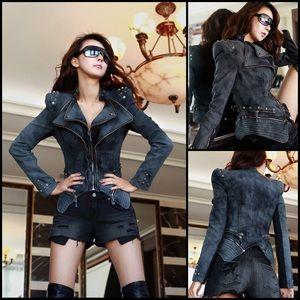 Black Studded Zipper Moto Biker Denim Jean Jacket